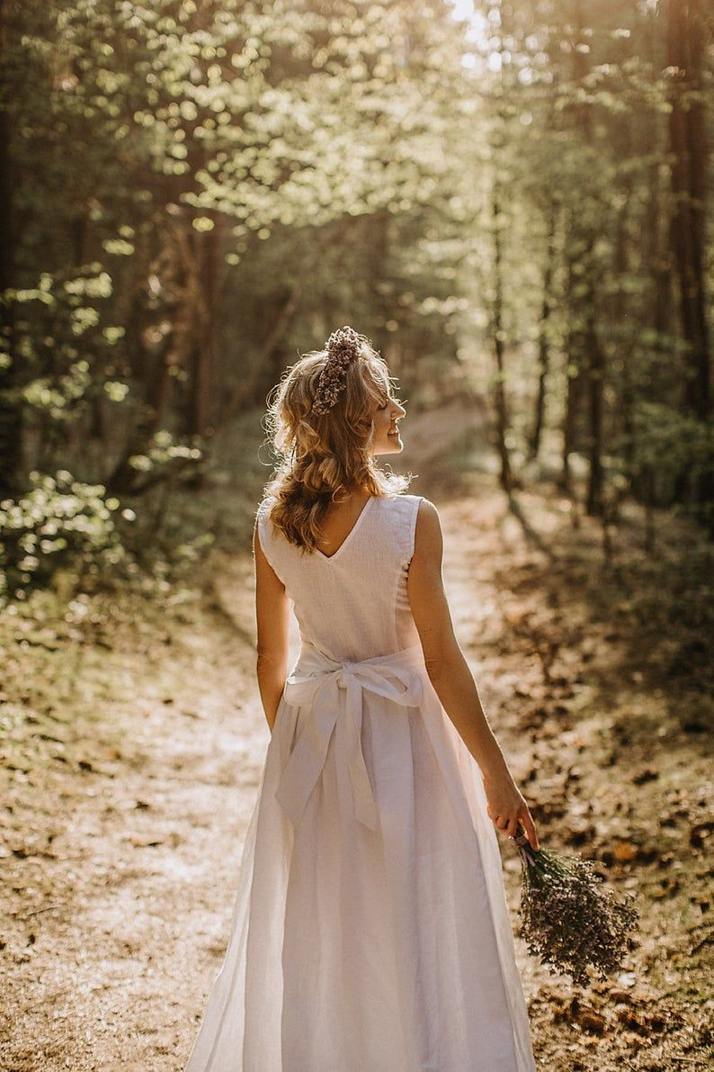 This Is So Simple And Lovely For A Wedding Dress Linen Wedding Dress Boho Wedding Dress Mountains Forest Wedding Dress Boho Wedding Dress Linen Wedding Dress [ 1191 x 794 Pixel ]