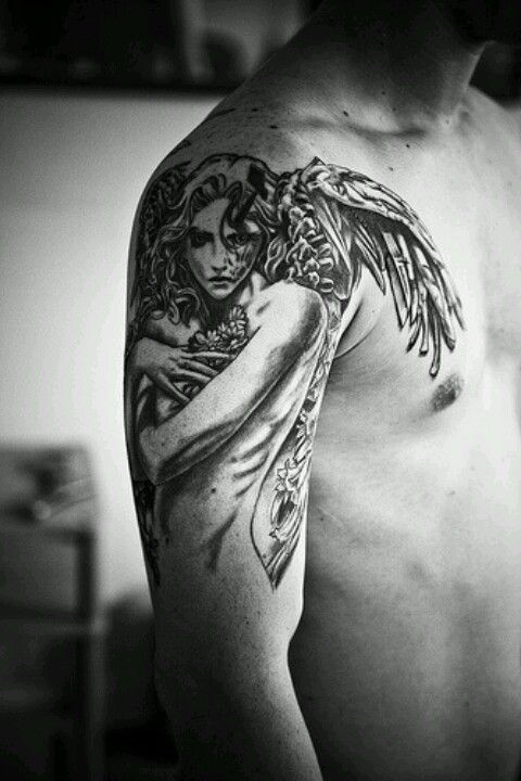 35 Beautiful Angel Tattoos Ideas Mens Shoulder Tattoo Angel Tattoo Designs Angel Tattoo Men