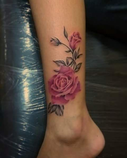 Imagine Leg Tattoo And Rose Ankle Tattoos For Women Foot Tattoos Leg Tattoos