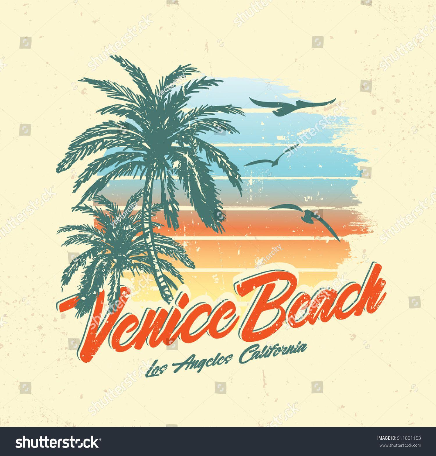 Tropical Sunset Surf And Beach Vintage Beach Print Tee Graphic Design Beach Illustration Sunset Surf Vintage Beach