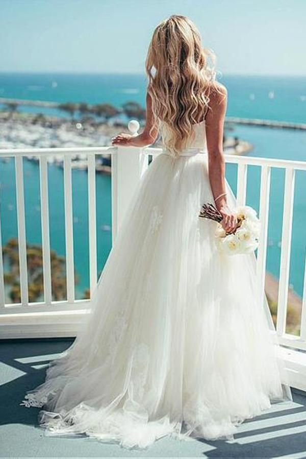 A Line Tulle Spaghetti Straps Ivory Wedding Dresses Beach Gowns Pw114