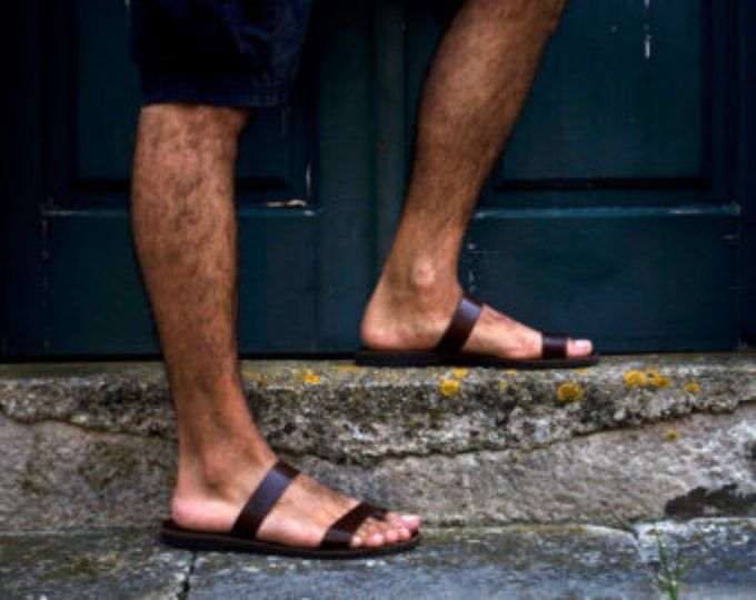 Greek Men Leather Sandals, summer men shoes, men flats