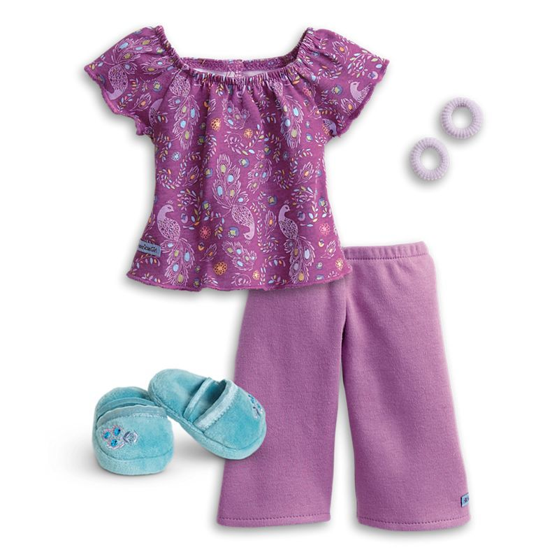 American Girl Purple Peacock Pj/'s Pajamas Outfit BRAND NEW easter summer