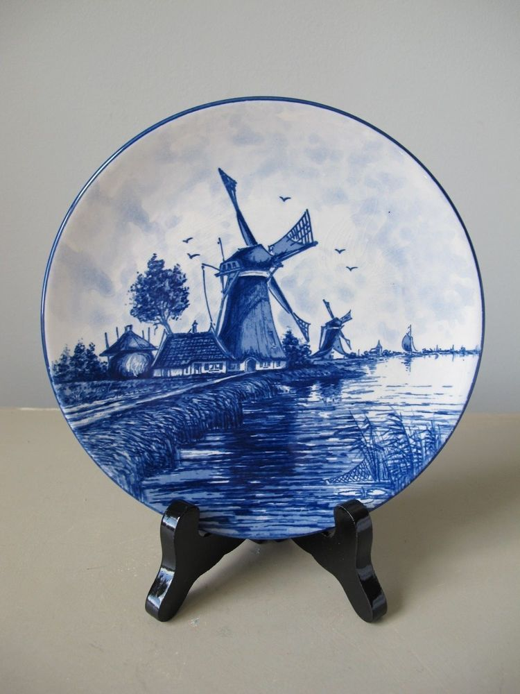 Vintage Delft Blauw Blue and White Decorative Plate Windmill Design Holland & Vintage Delft Blauw Blue and White Decorative Plate Windmill Design ...