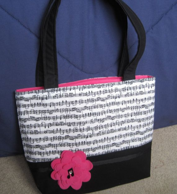 Black and Hot Pink Music Notes Tote Bag by JulesMakes on Etsy