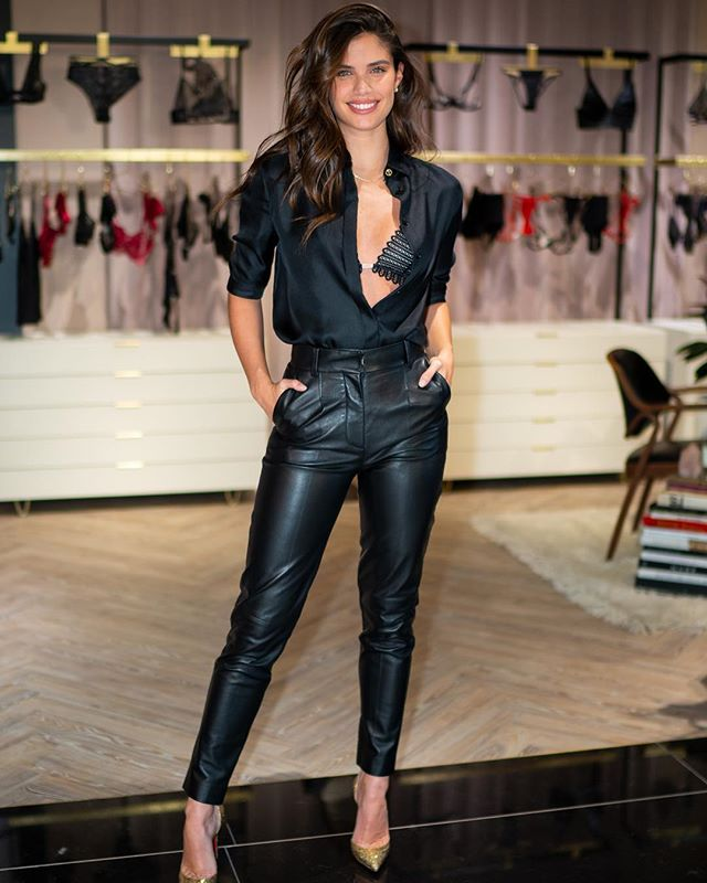 "Sara Sampaio on Instagram: ""So exciting to have @livystudio join the @victoriassecret family! Having the best day today talking about her beautiful brand. From…"" #leatherpantsoutfit"