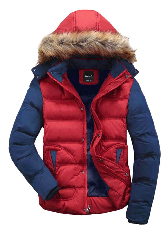WantDo Men's Winter Puffer Coat Casual Fur Hooded Warm