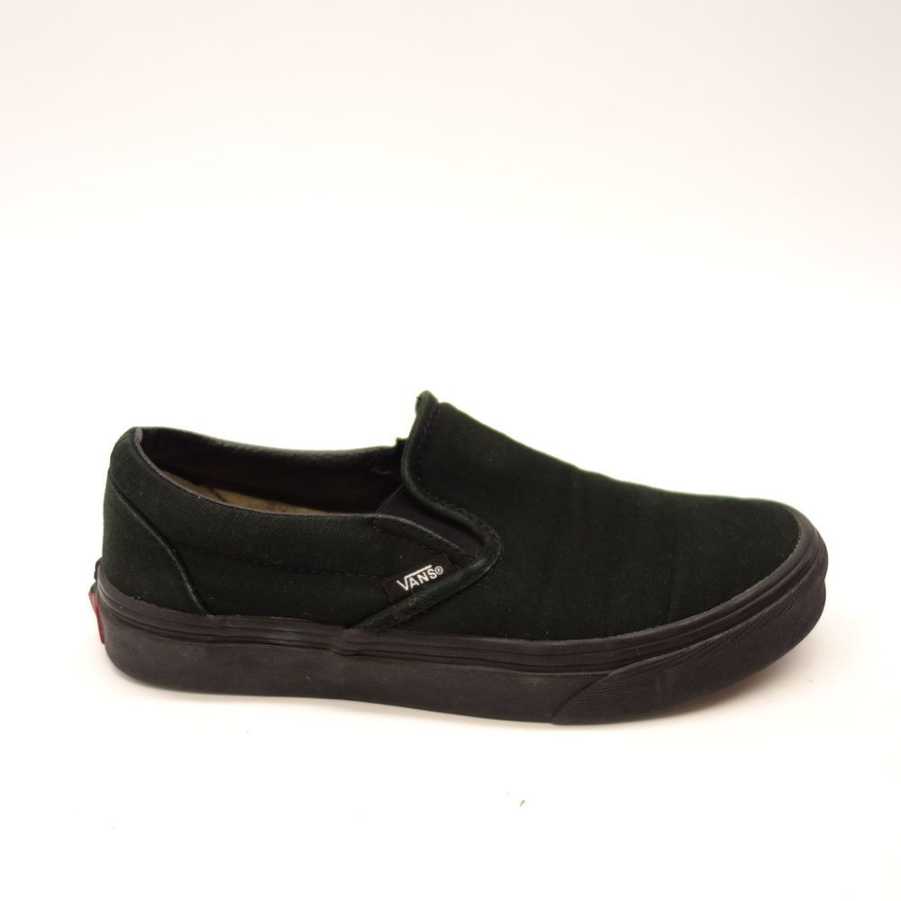 004fa56cc53 Vans Womens Solid Black Classic Slip On Canvas Skater Shoes Size US 7 EU 37   VANS  SlipOn
