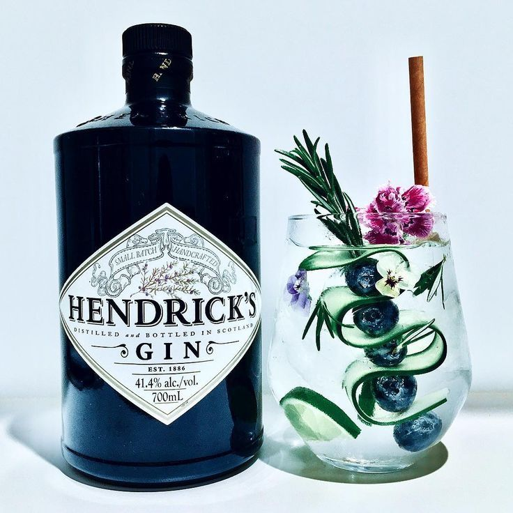 Photo of Hendrick's Gin Tonic, garnished with lime and cucumber + blueberry + ro … – #g …