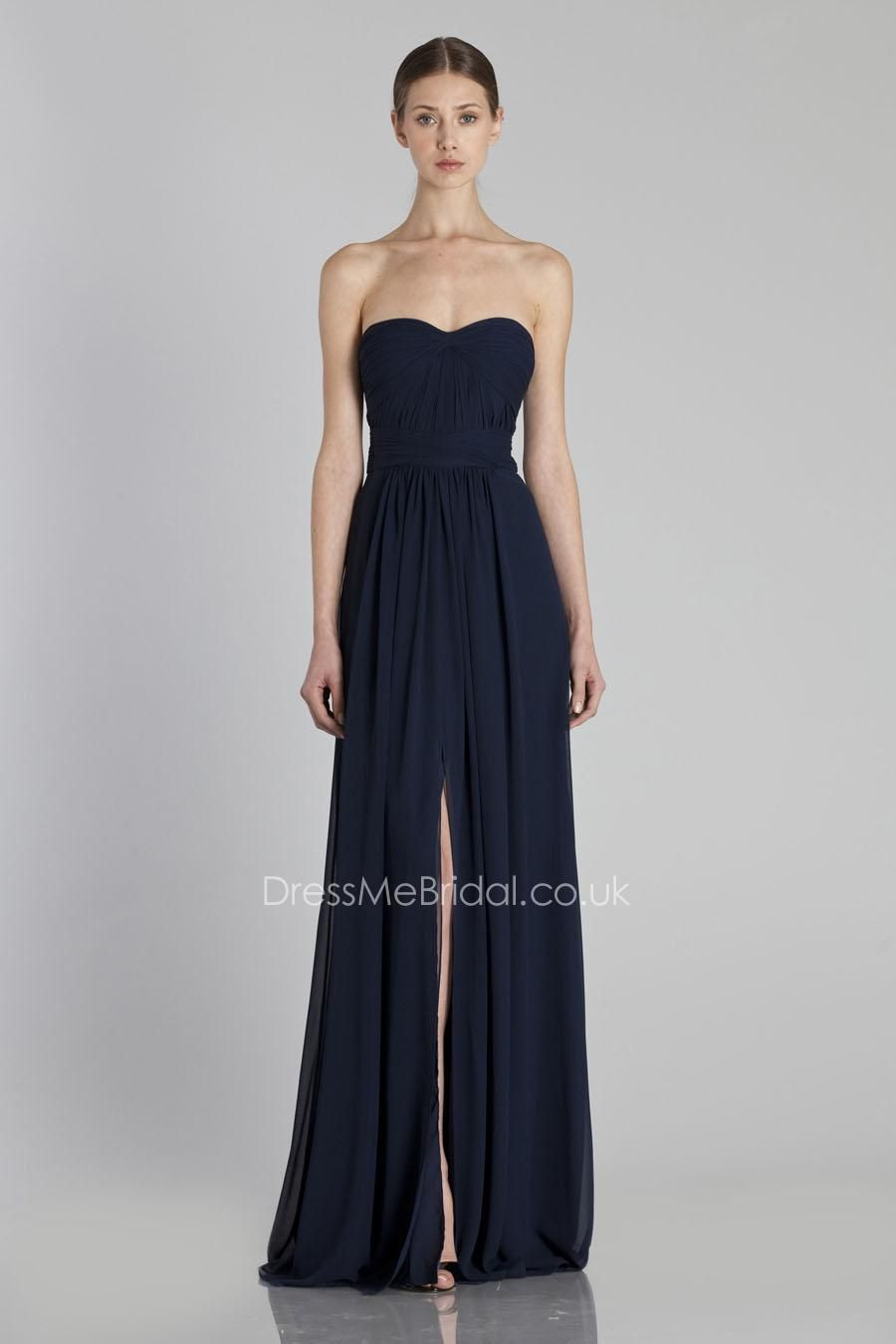 f00062548e floor length strapless sweetheart navy bridesmaid dress with front split