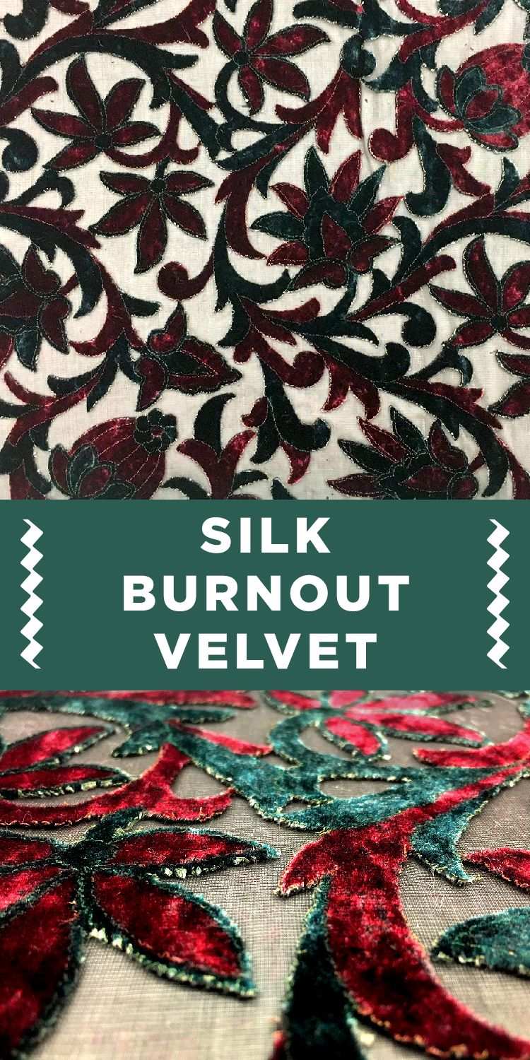 Red and Green Silk Burnout Velvet with Modern Floral Pattern