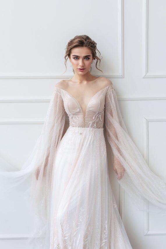 Wedding dress SHERON with V deep neck and long train by Ange Etoiles • A-line wedding dress • – Meyer Wedding