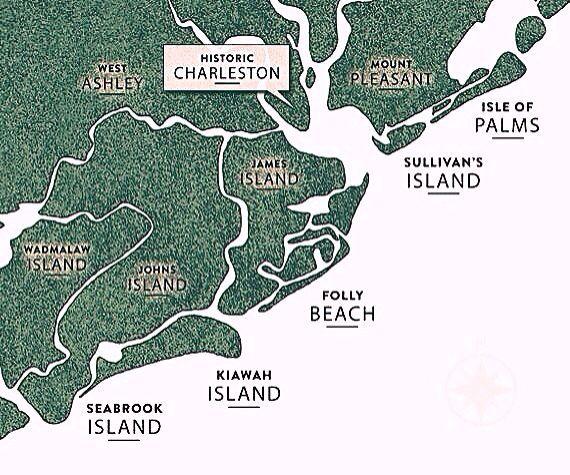 Map Of Charlestons Five Beaches Isle Of Palms Sullivans Island