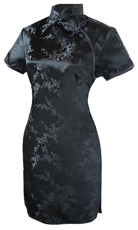 Fairy womenus sexy black floral mini chinese evening dress