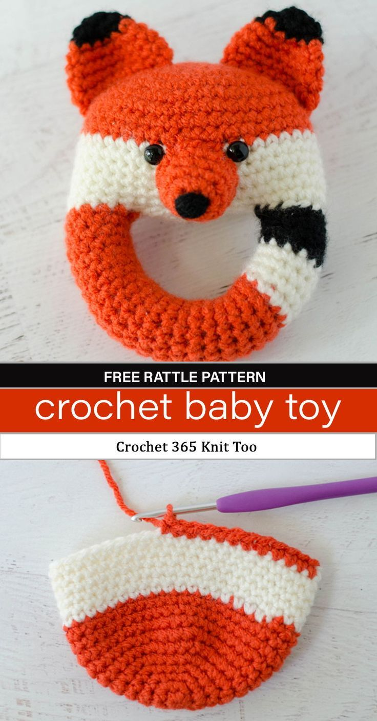 Make this adorable fox rattle baby toy. Free crochet pattern by Crochet 365 knit too. #crochetrattle #crochettoy #crochetforbaby #babytoy #babyrattle