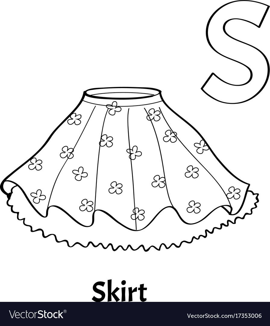 Alphabet Letter S Coloring Page Skirt Vector Image On Vectorstock Lettering Alphabet Coloring Pages Lettering