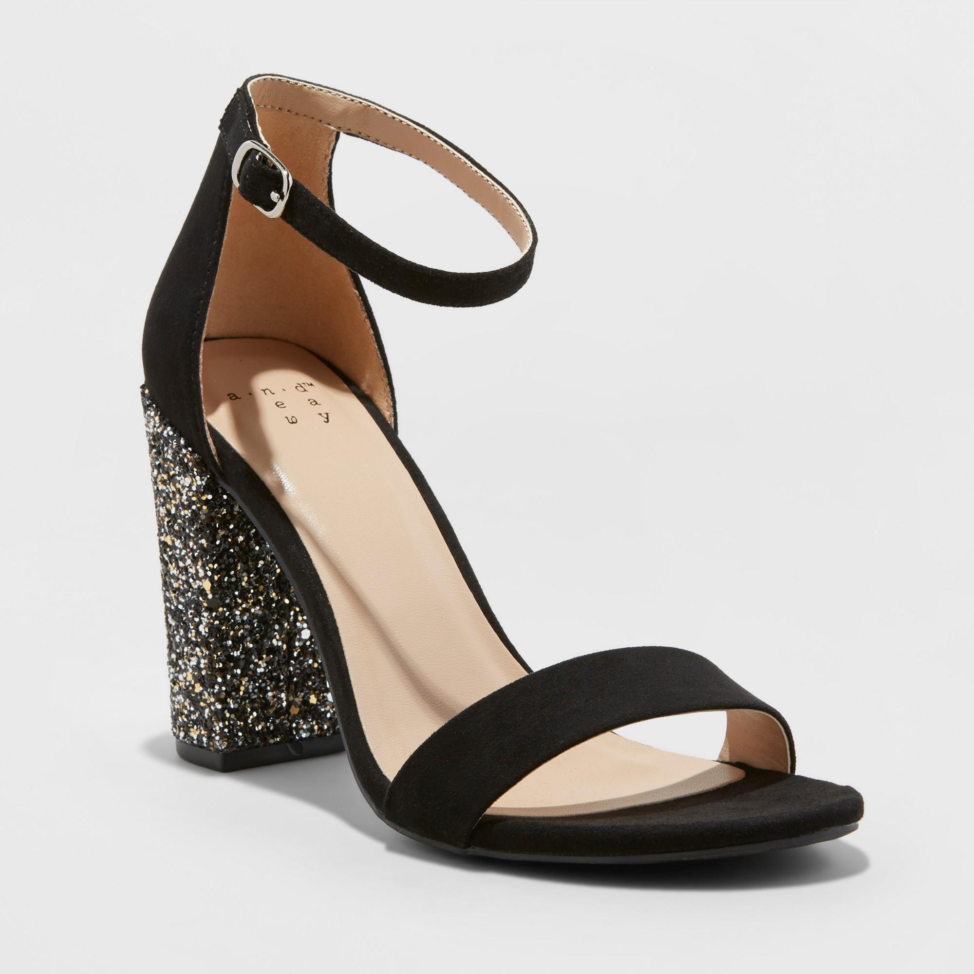 Women's Ema Glitter Satin High Block Heel Pump Sandal A