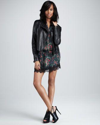 Haute Hippie Leather Motorcycle Jacket & Tiny Dancer Drop-Waist Dress - Neiman Marcus