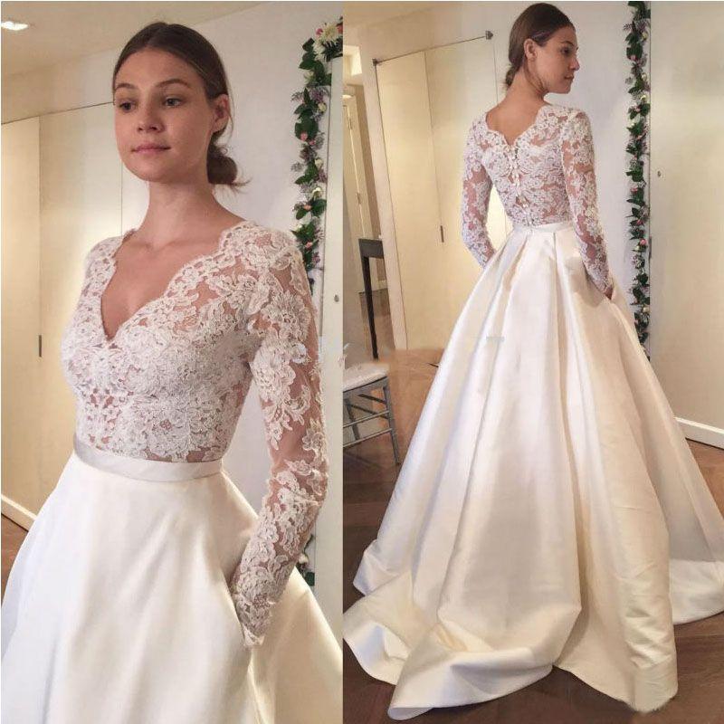 Find More Wedding Dresses Information About Satin Skirt Wedding Dress 2017 V Neck Top La Elegant Bridal Gown Long Sleeve Bridal Gown Wedding Dress With Pockets