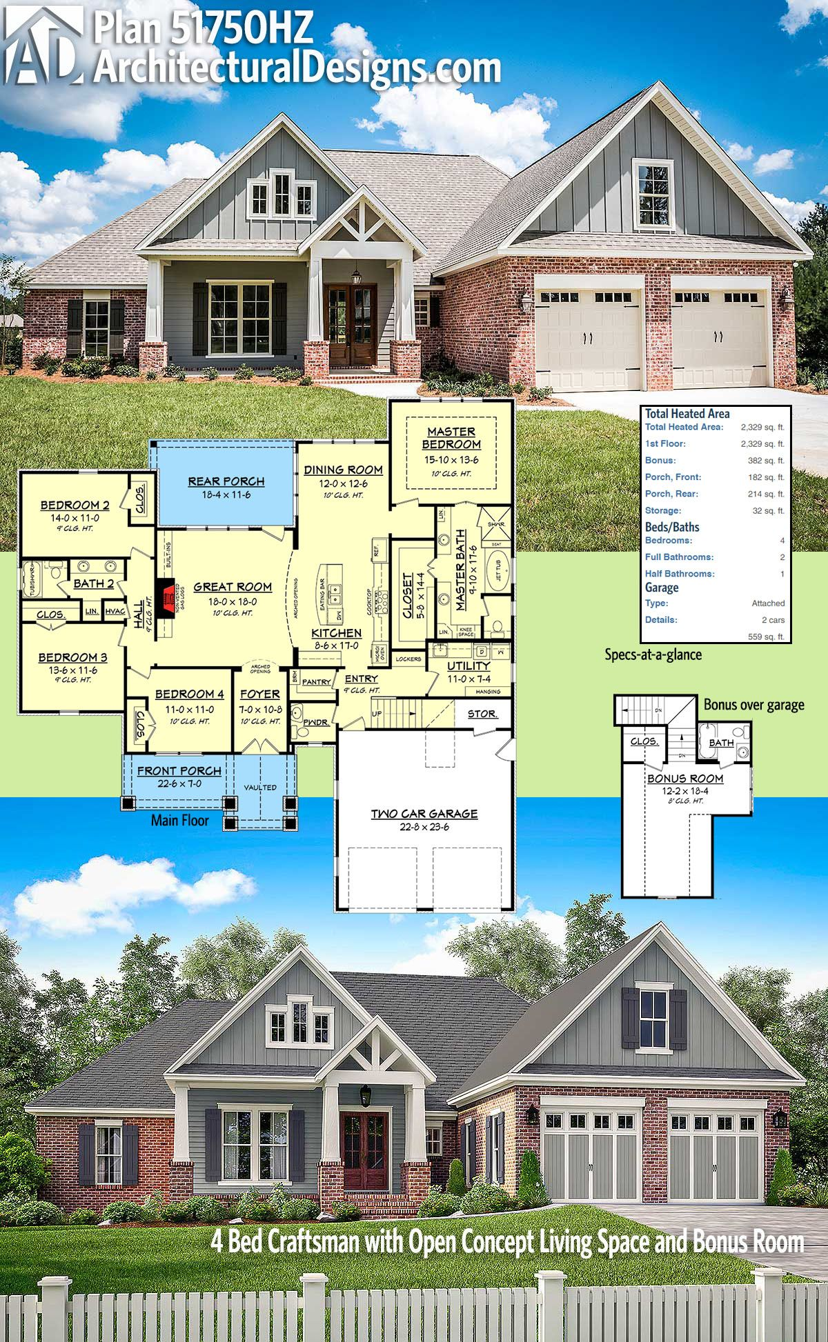 Plan 51750HZ: 4 Bed Craftsman with Open Concept Living Space and ...