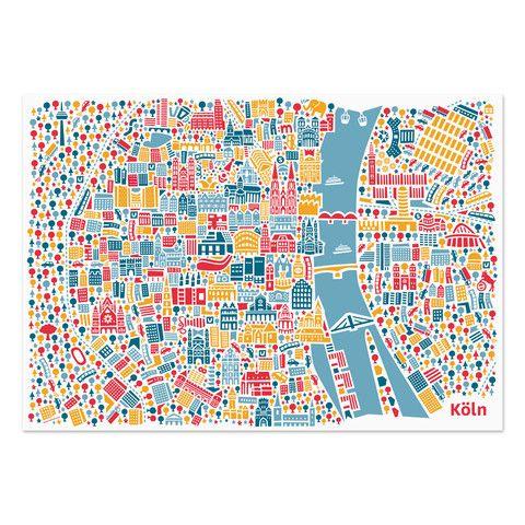 Koln Poster Poster Kaufen Stadtplan Illustrierte Karten