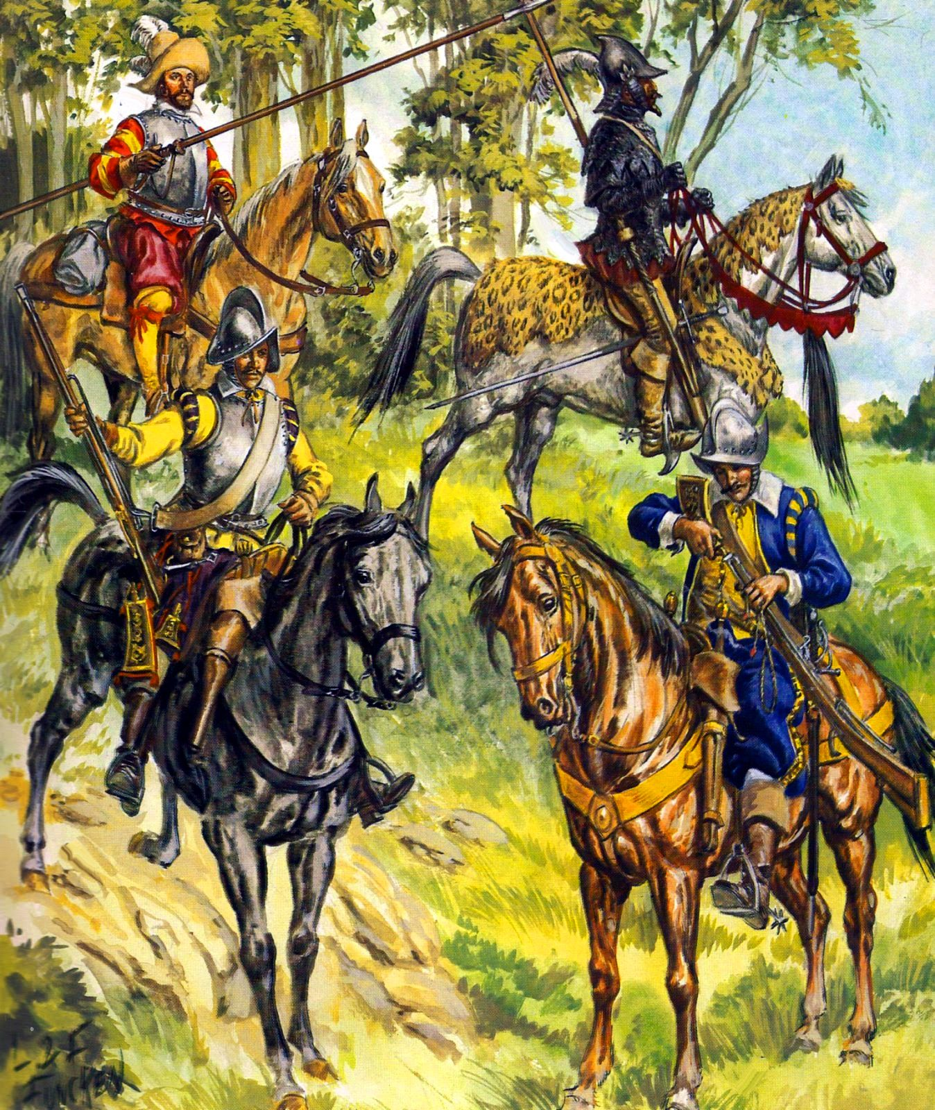 German Dragoon Lancers And Cuirassiers During The Thirty