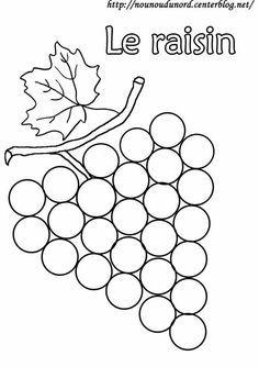 Coloriage Gommette Fruits Et Legumes.Coloriage Raisin A Gommettes Dessine Par Nounoudunord Activite