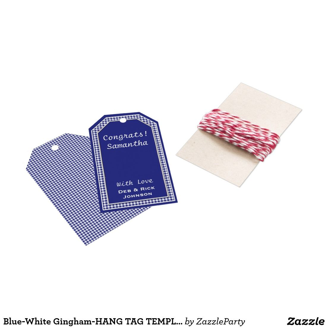 BlueWhite GinghamHang Tag Template Zazzle Blue Gingham