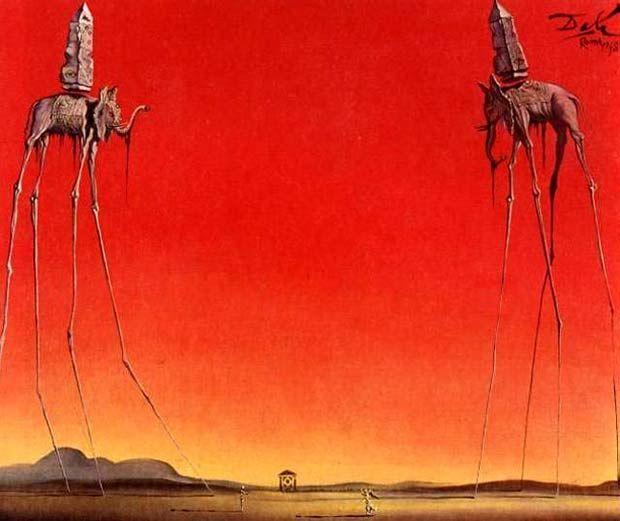 The Elephants (1948) by Salvador Dalí