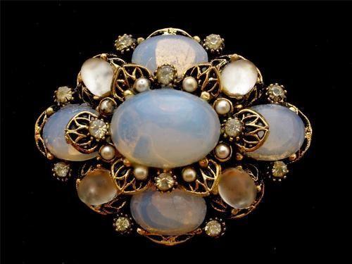 Art Rhinestone Vintage Brooch Signed Pin Moonstone High End OpalescentCabochon | eBay - more → http://sherryfashiondesignblog.blogspot.com/2012/05/art-rhinestone-vintage-brooch-signed.html