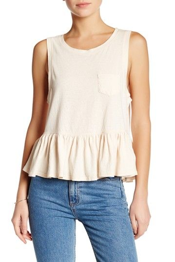Image of Free People Sleeveless Peplum Shirt