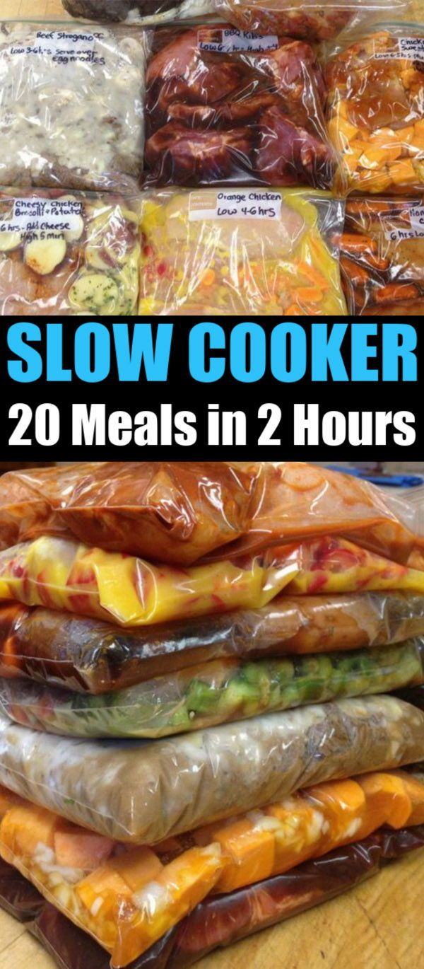 Crockpot Meal Prep - 20 Family Meals in 2 Hours. Freezer to Crockpot Recipes. #crockpotmealprep