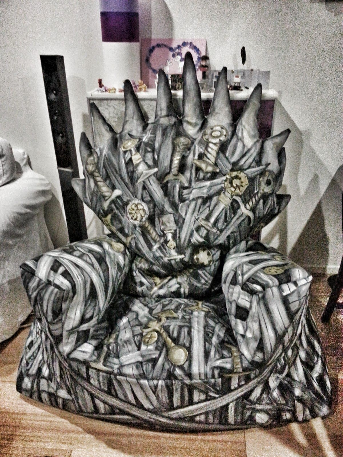 Iron Throne Chair Backboard Swivel View Diy Cover With Fabric And Foam Ingenious Ambitious Perhaps Someone On Etsy Can Make This For My Game Of Thrones Gatherings