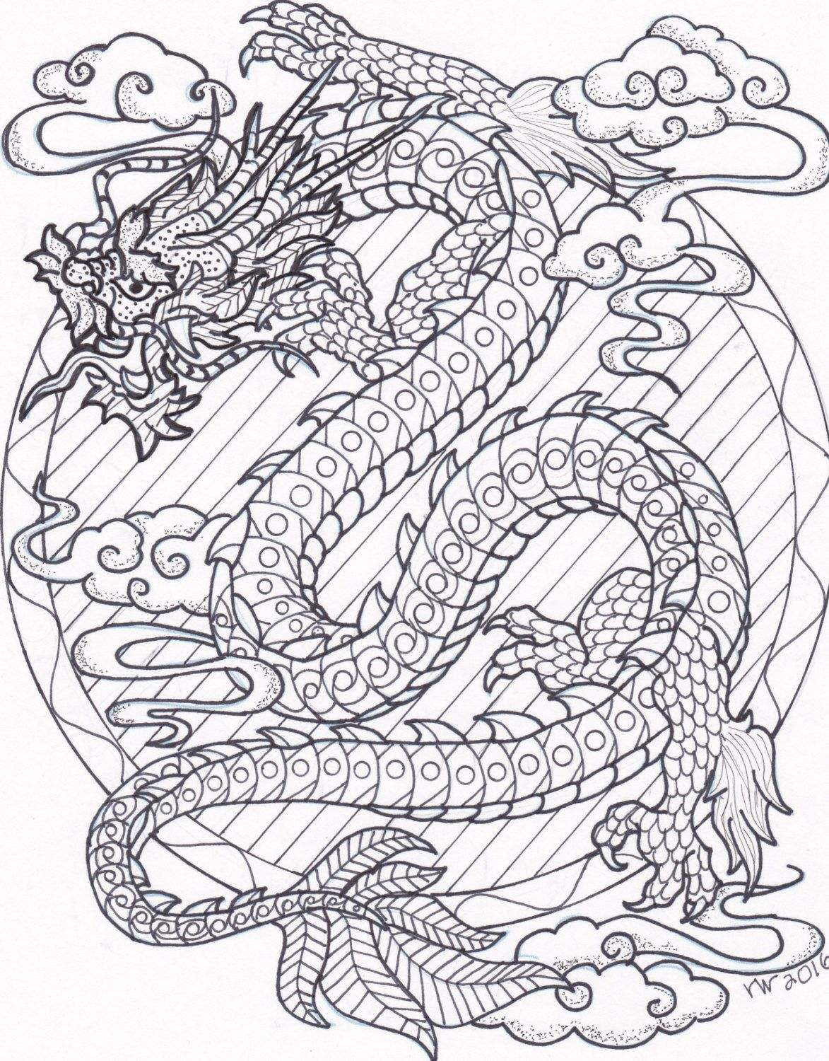 Chinese Dragon Zentangle Coloring