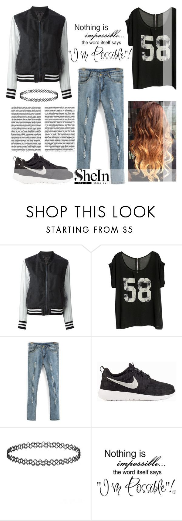 """""""Nothing is impossible!"""" by cassy-style ❤ liked on Polyvore featuring Avelon, NIKE, women's clothing, women's fashion, women, female, woman, misses and juniors"""