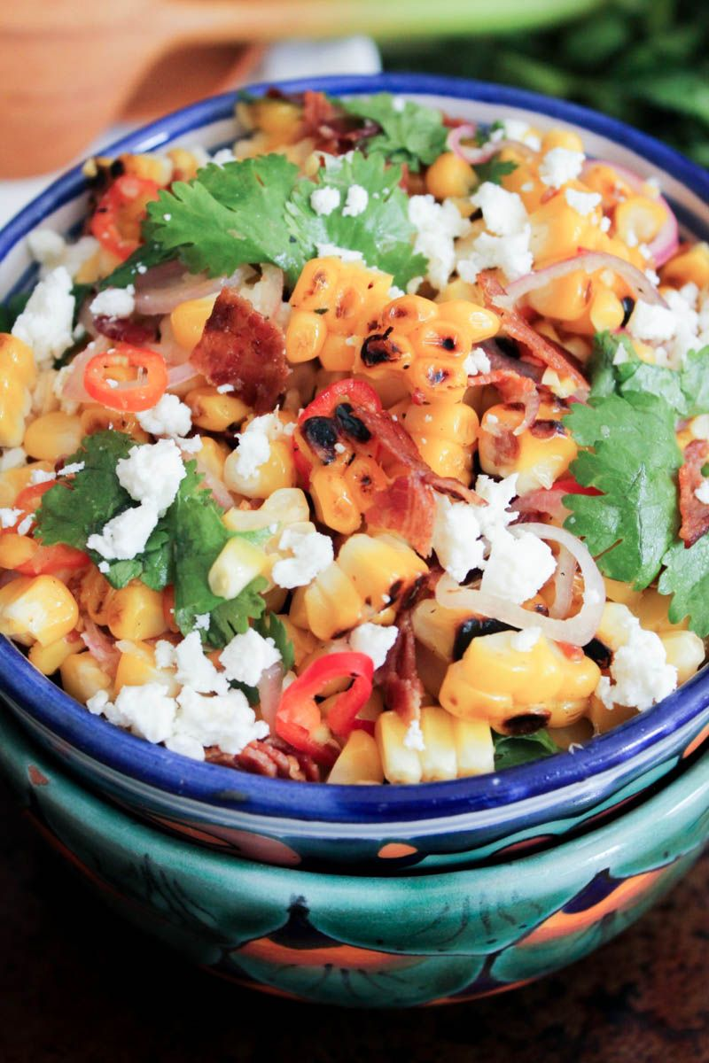Charred Corn with Bacon, Chiles and Cheese (aka Mexican