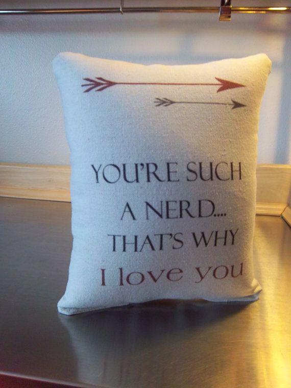 Valentine S Gift Boyfriend Nerd Pillow By SweetMeadowDesigns
