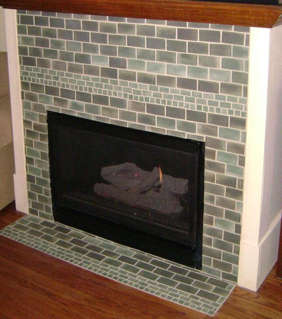 Green Brick Tile Fireplace Surround For Living Room Designs - Brick fireplace tile ideas