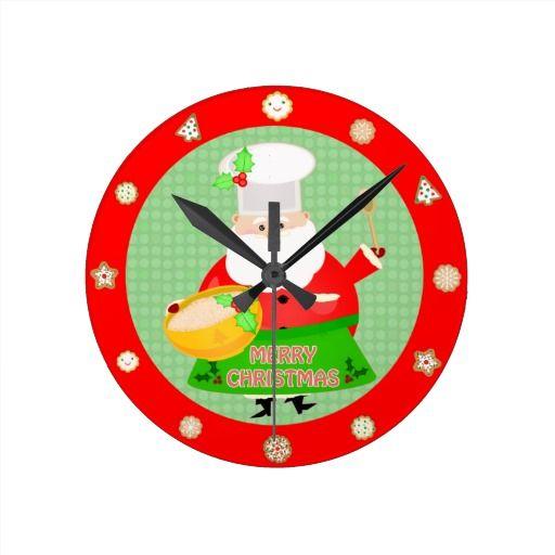 Christmas Baking Santa Wall Clock #santaclaus #santa #christmas #clocks #jamiecreates1 #zazzle