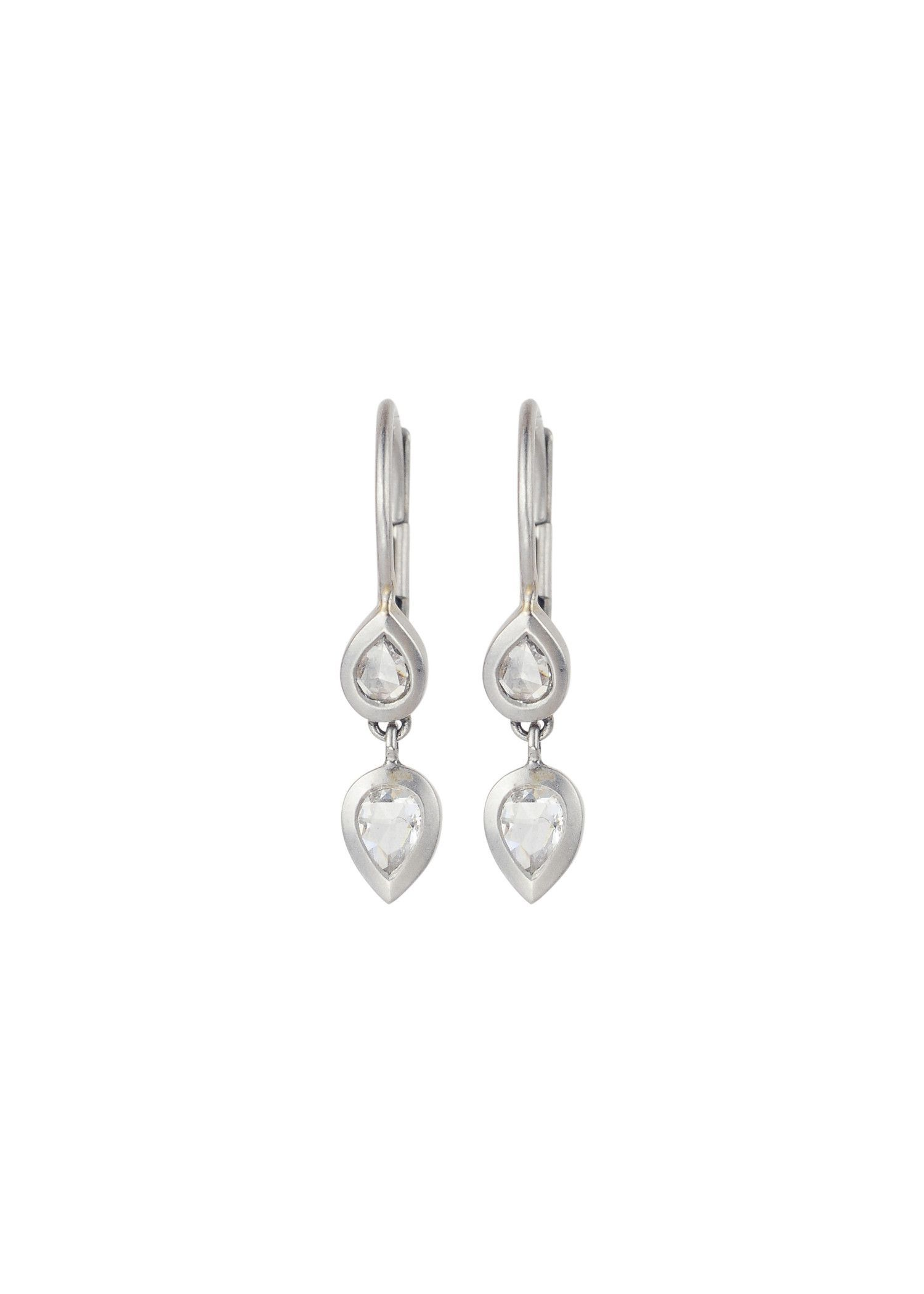 Platinum Pear Shaped Diamond Drop Earrings Products