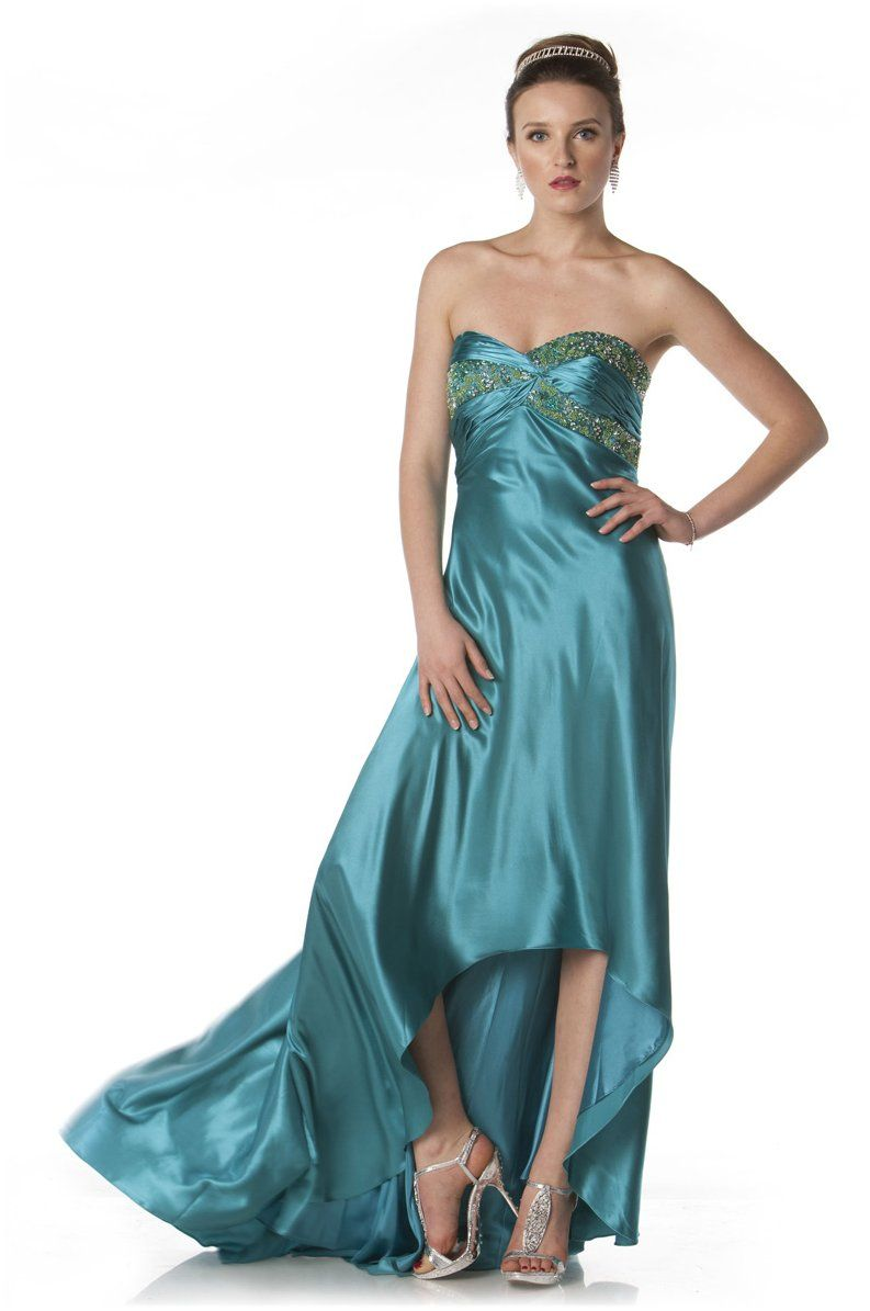 Strapless Teal Green Formal Evening Gown Beaded Bodice charmeuse ...