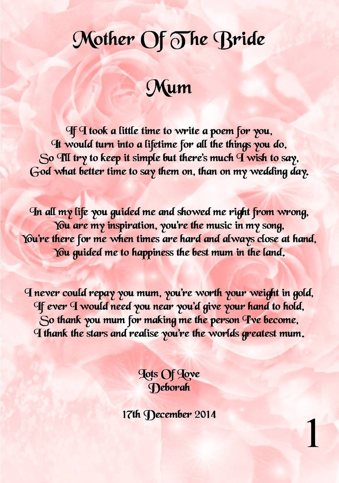 2 49 Gbp Wedding Day Thank You Gift Mother Of The Bride Poem A5 Photo Ebay Home Garden Wedding Gifts For Parents Thank You Speech Wedding Wedding Poems