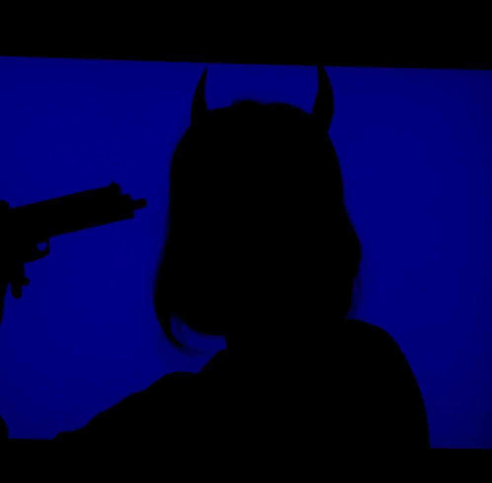 Aesthetic blue grunge demon devil girl Wallpaper Blue