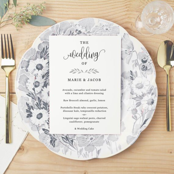 Printable Wedding Menu Wedding Menu Template by SwellAndGrand