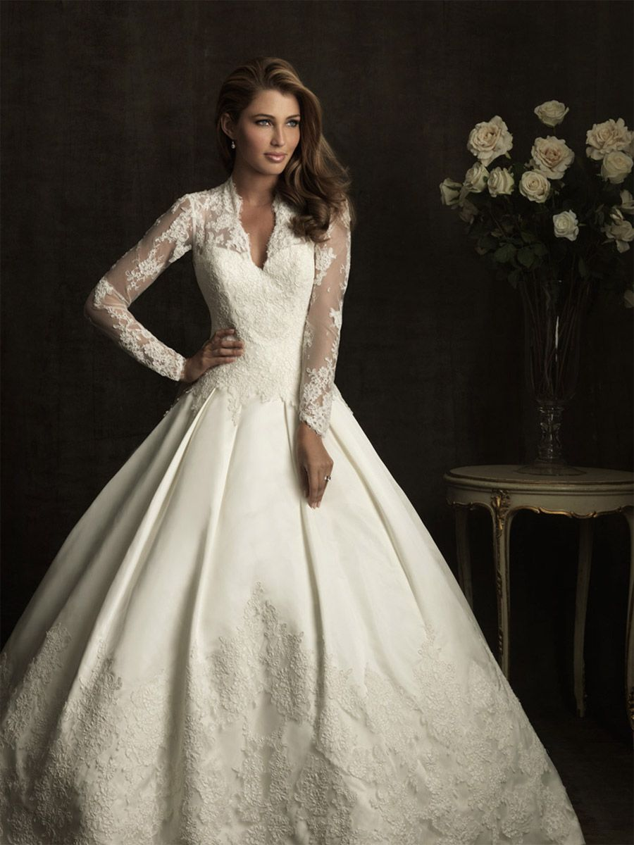 Wedding dresses u allure bridals gown long sleeve lace