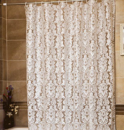 Vintage European Style White Flowers PEVA Translucent Shower Curtain Water Resistant 78 Inches Wide By