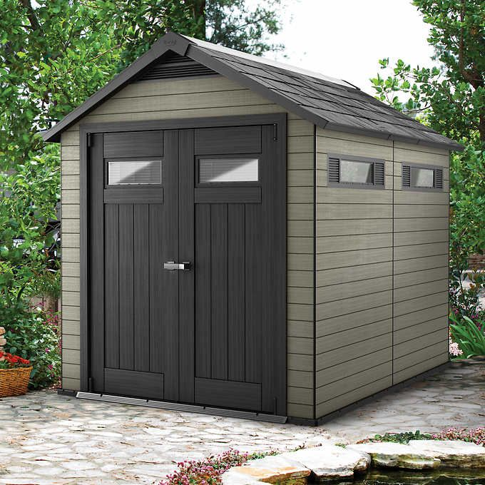 keter fusion 7 5 ft x 9 ft wood plastic composite shed