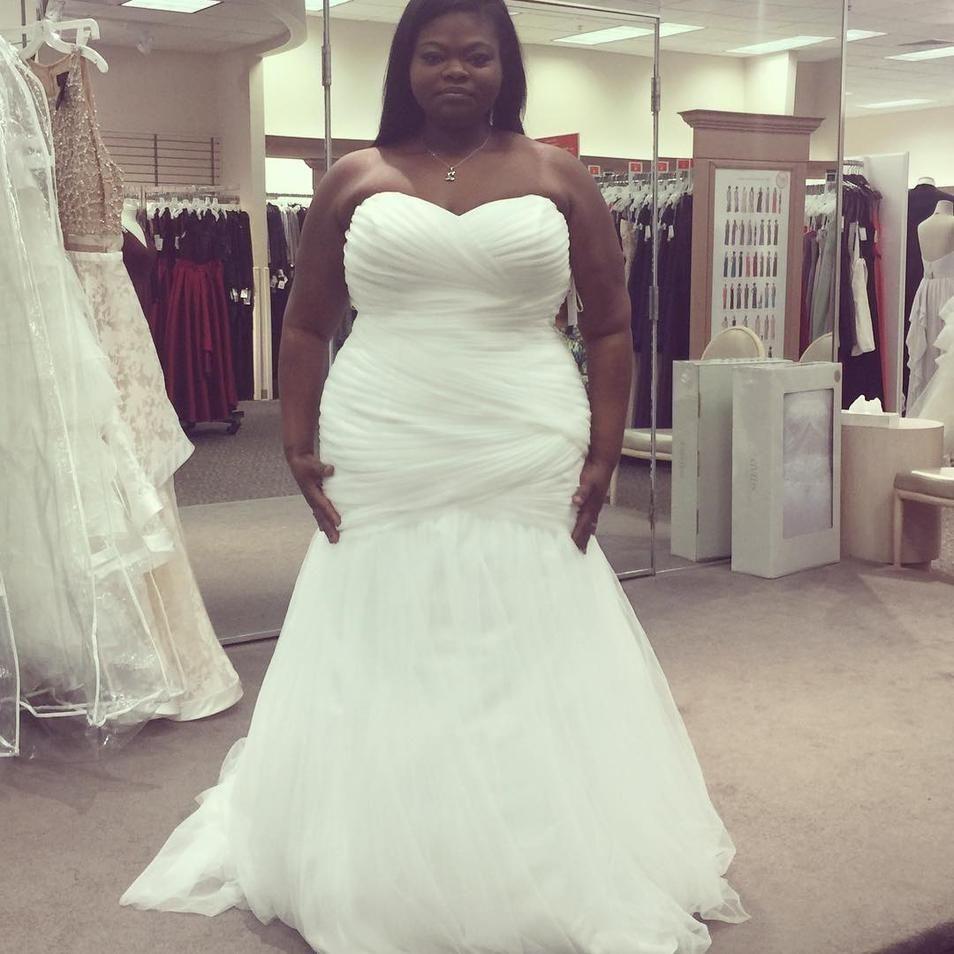 Strapless Mermaid Tulle Plus Size Wedding Dress David S Bridal Davids Bridal Wedding Dresses Plus Size Wedding Gowns Wedding Dresses
