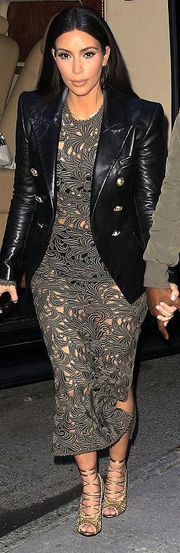 Who Made Kim Kardashians Lace Dress Black Leather Jacket