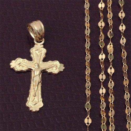 10k Yellow Rose Gold Religious Jesus Cross Pendant Singapore chain